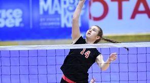 Hannah Tuma of Pierson/Bridgehampton hits the ball during