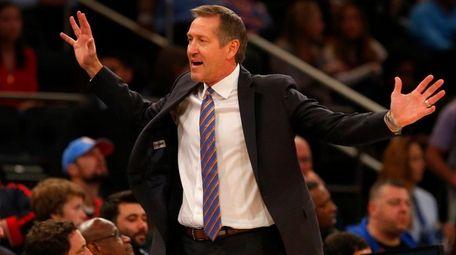 Knicks head coach Jeff Hornacek reacts against theJazz