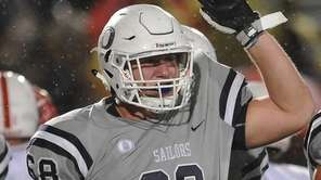 Michael Scibelli #68 of Oceanside reacts after a