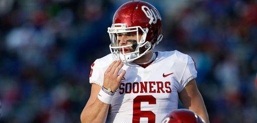 Quarterback Baker Mayfield of the Oklahoma Sooners prepares