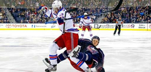 The Blue Jackets' Gabriel Carlsson gets called for