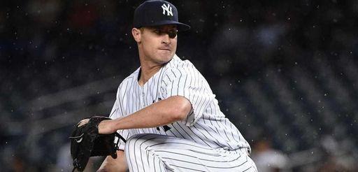New York Yankees relief pitcher Nick Rumbelow delivers