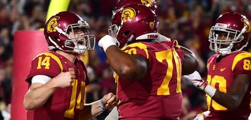 USC quarterback Sam Darnold reacts to his touchdown