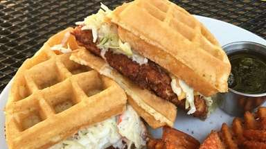 The $12.99 chicken and waffle sandwich at Sweet