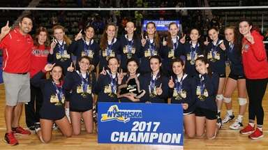 The Connetquot girls volleyball team poses with the