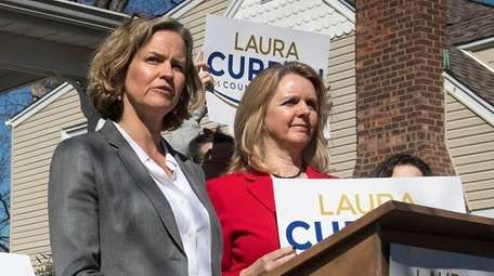Laura Curran at a news conference on March
