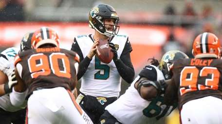 Blake Bortles of the Jacksonville Jaguars looks to