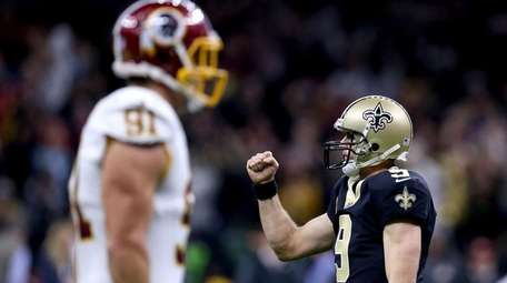 Drew Brees of the New Orleans Saints reacts