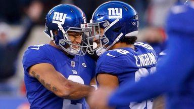 Aldrick Rosas of the Giants celebrates his game-winning