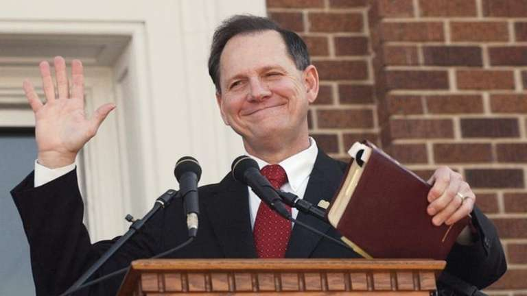 Former Alabama Chief Justice Roy Moore speaks at