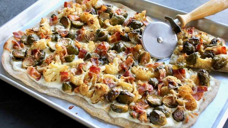 Pizza made with store-bought dough is topped with
