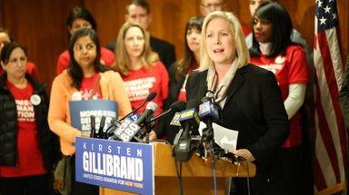 Senator Kirsten Gillibrand speaks during a press conference