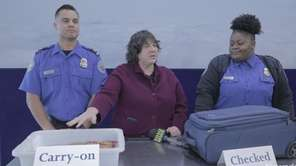 Transportation Security Administration members demonstrate the difference between