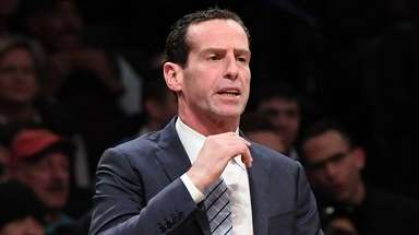 Nets head coach Kenny Atkinson looks on against