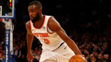 Tim Hardaway Jr. of the Knicks controls the