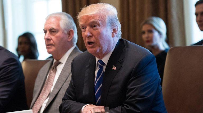 President Donald Trump speaks as Secretary of State