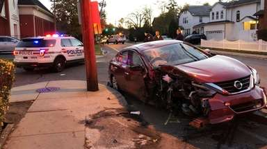 The scene of a one-car crash in Cedarhurst