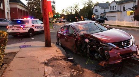 The scene of a one-car crash in Cedarhurst