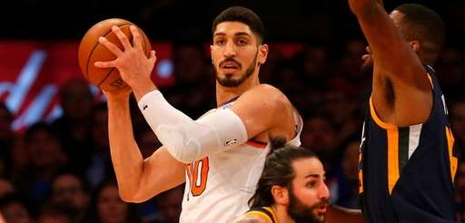 Enes Kanter of theKnicks controls the ball against