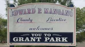 A sign at Grant Park in Hewlett bears