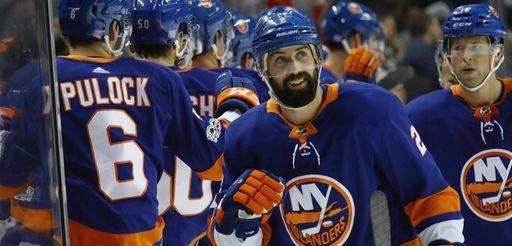 Islanders defenseman Nick Leddy celebrates a goal against