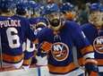 Islanders defenseman Nick Leddy celebrates a goal against