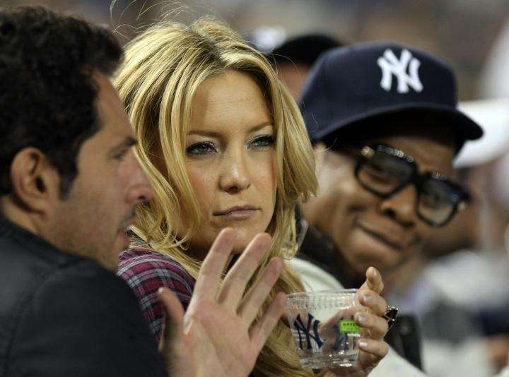 Actress Kate Hudson and rapper Jay Z look