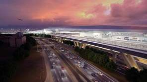 A rendering of LaGuardia Airport featuring an AirTrain.