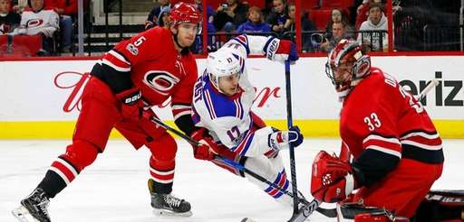 The Rangers' Jesper Fastcharges the net past the