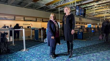 Islip Town Supervisor Angie Carpenter, left, with airport
