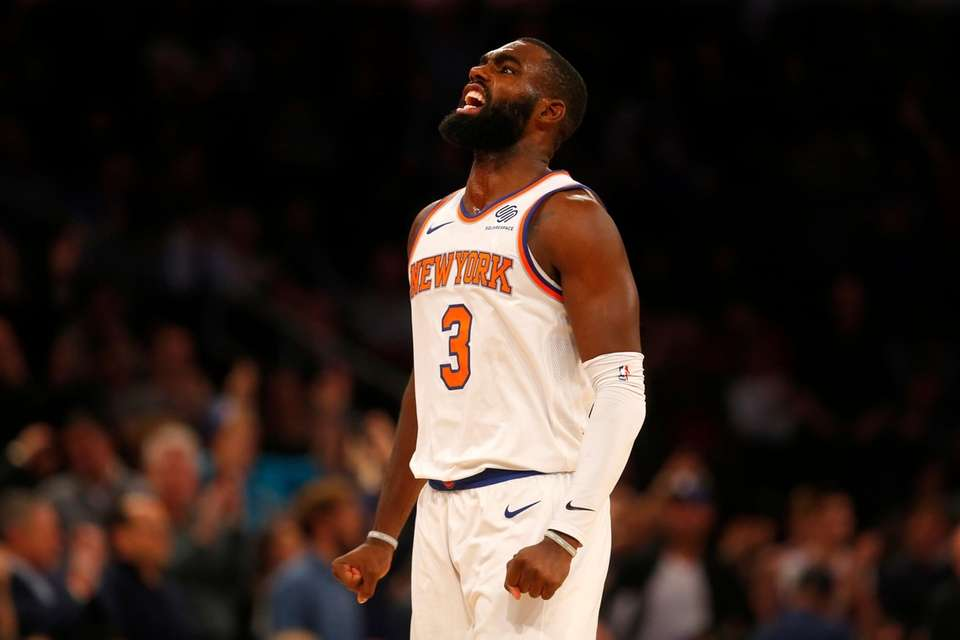 Knicks forward Tim Hardaway Jr. reacts after a