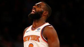 Knicks forward Tim Hardaway Jr. reacts after a