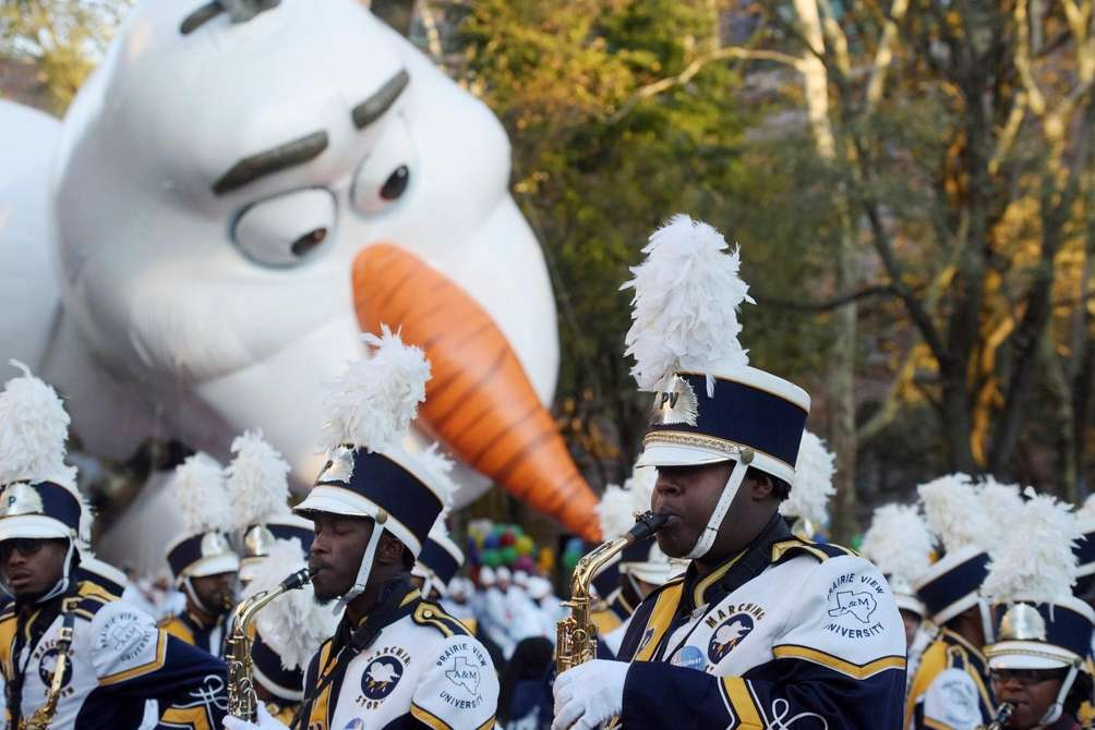 The Prairie View A&M University marching band came