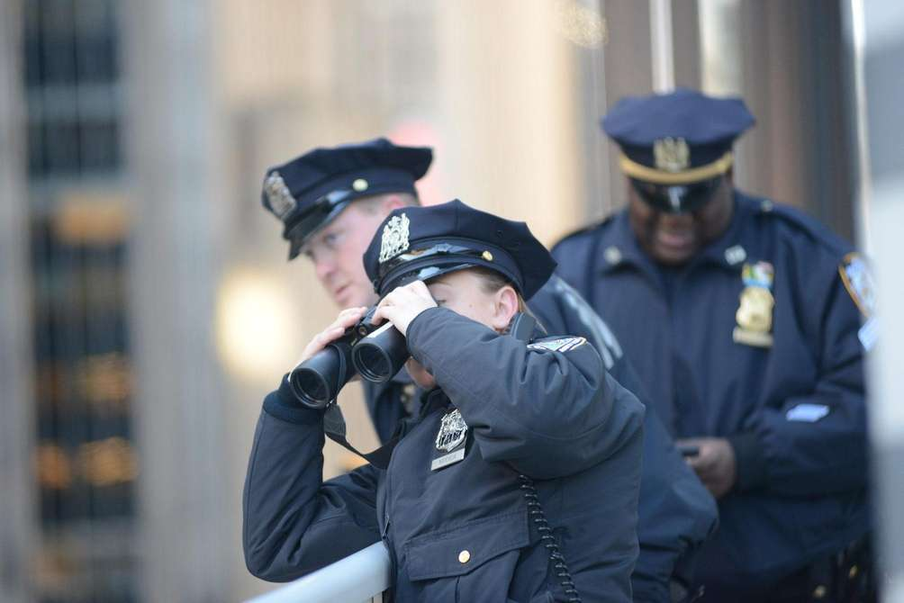 Cops keep an eye on the parade.