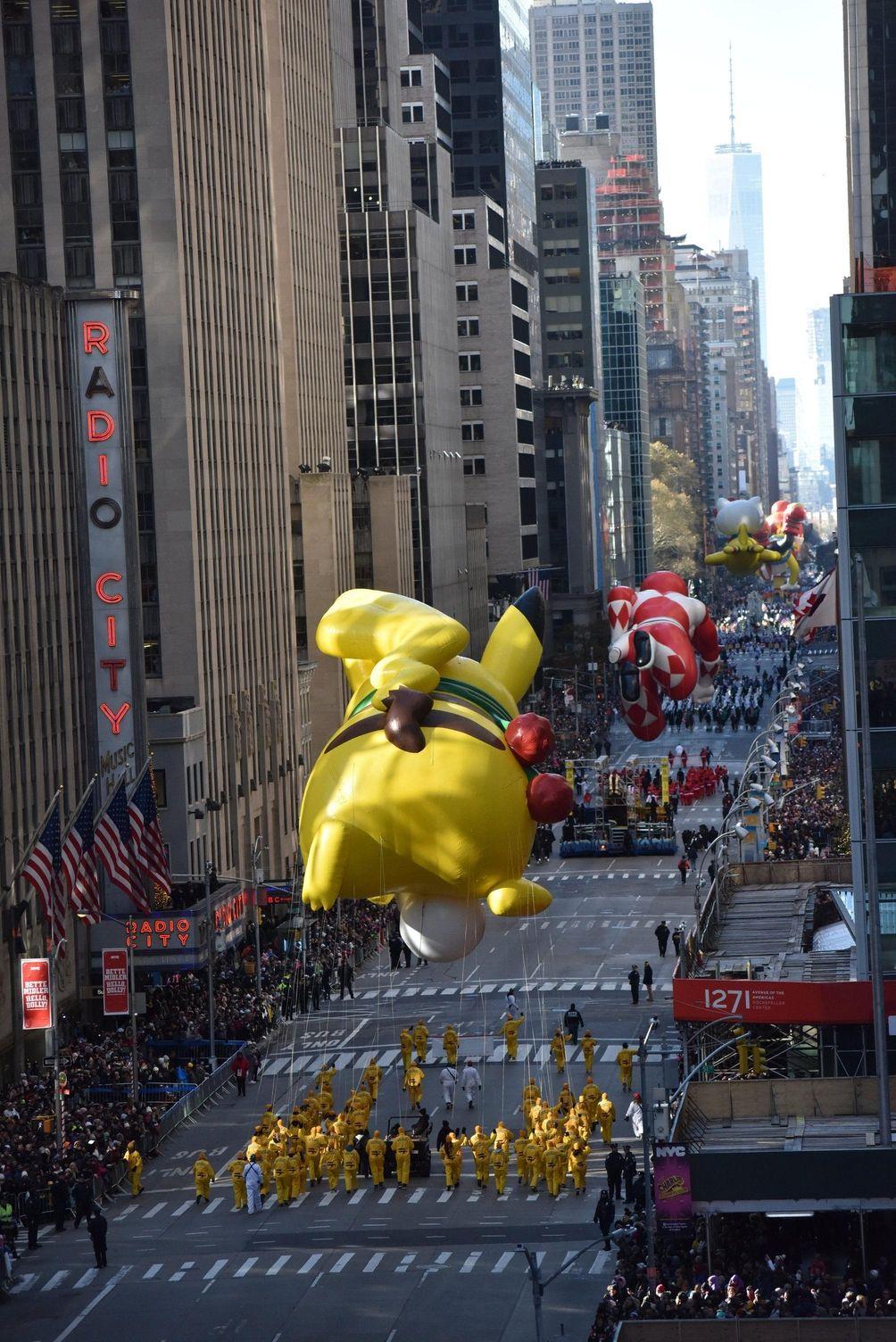 The Pikachu Pokemon paraded down Sixth Avenue near