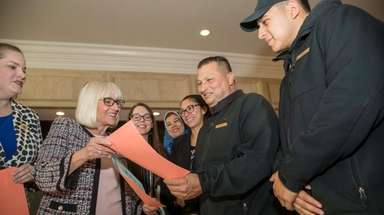 North Hempstead Supervisor Judi Bosworth speaks with Godfredo