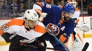 Islanders' Andrew Ladd skates against Philadelphia Flyers defenseman