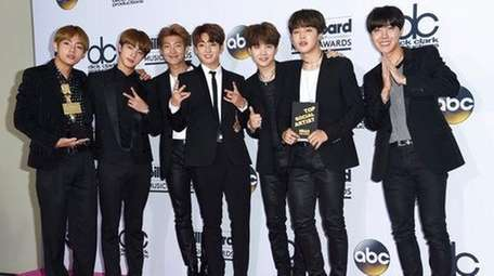 BTS, a South Korean band, poses in the