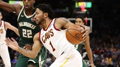 Derrick Rose of the Cleveland Cavaliers drives around