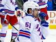 David Desharnais of the Rangers reacts to his team giving