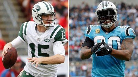 This composite image shows Jets quarterback Josh McCown,