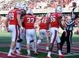 Stony Brook players revel after a touchdown by