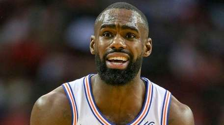 Knicks forward Tim Hardaway Jr. reacts after being