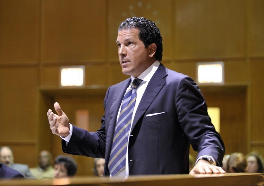 Joseph Tacopina, attorney for Sen. Hiram Monserrate, presents