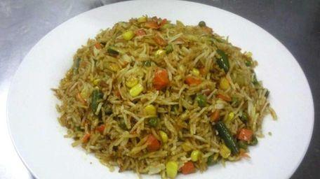 Vegetable biryani at Namaste America, an Indian restaurant