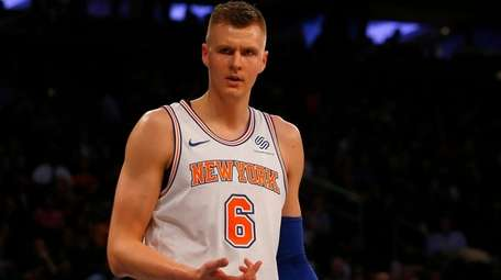 Kristaps Porzingis of the  Knicks reacts after a play