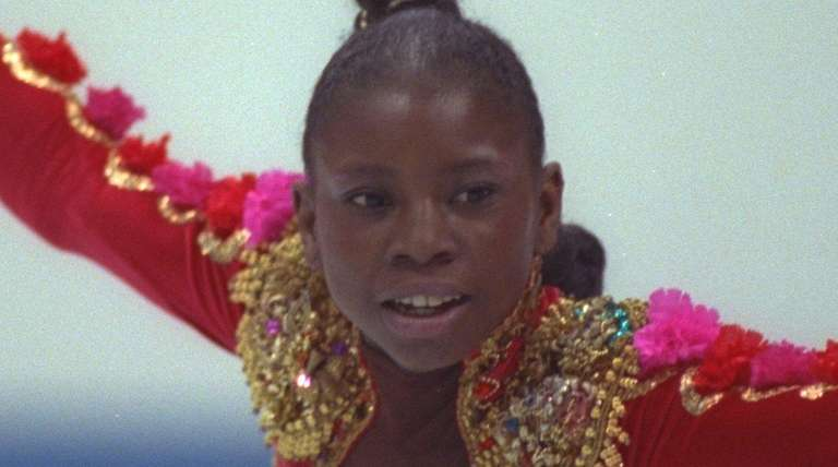 Surya Bonaly of France competes in the 1992
