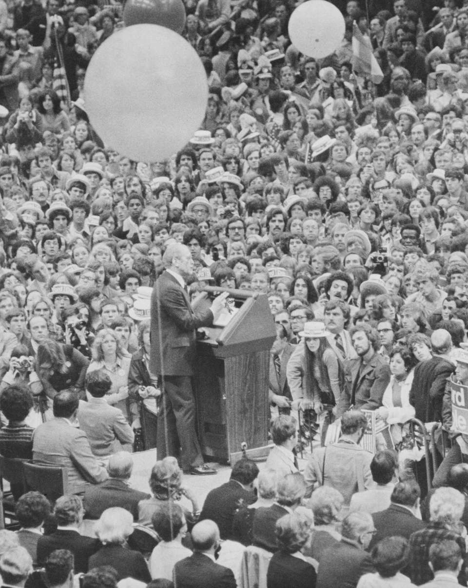 President Gerald Ford speaks in front of a