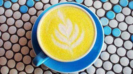 A golden milk latte at Flux in Farmingdale.