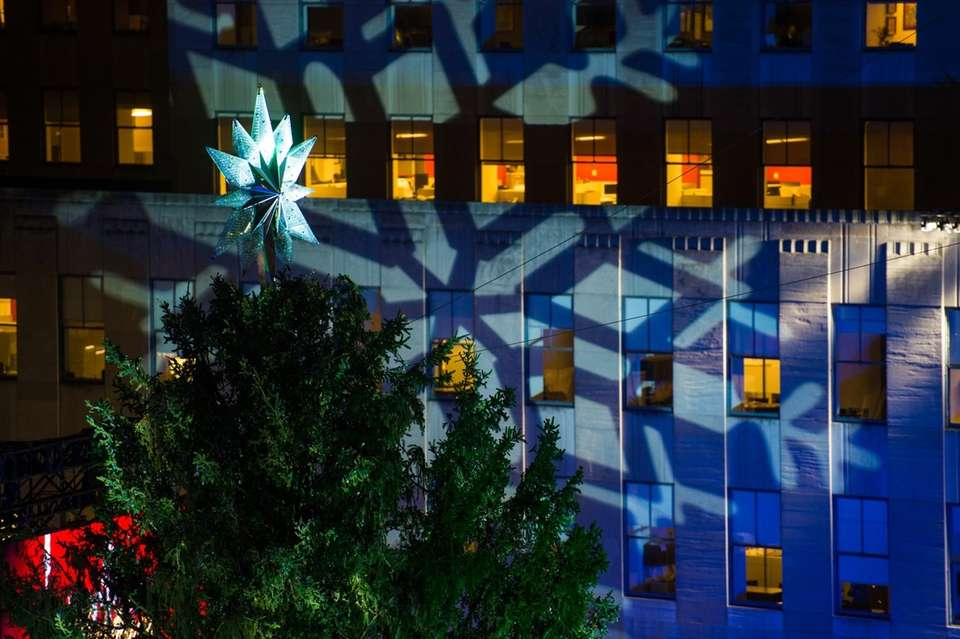 A star tops the Rockefeller Center Christmas tree